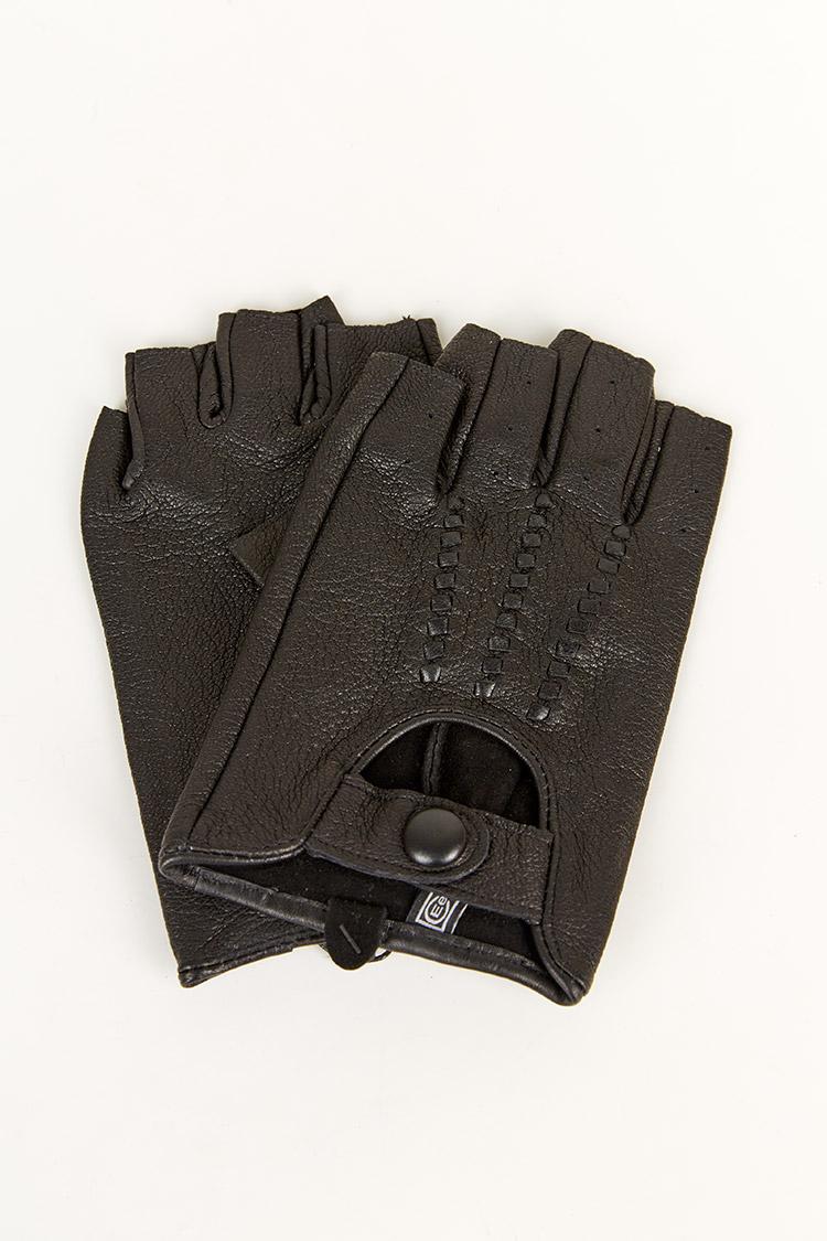 Перчатки мужские из натуральной кожи черные, модель 1853/автомен
